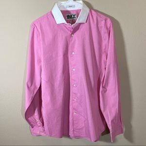 Express Men's Fitted Pink Shirt w/White Collar